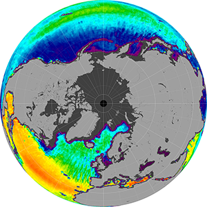 Sea surface salinity in the Northern Hemisphere, April 2014
