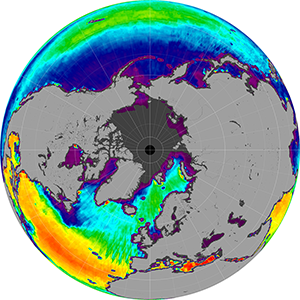 Sea surface salinity in the Northern Hemisphere, August 2013