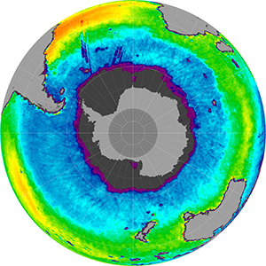 Sea surface salinity in the Southern Hemisphere, December 2012