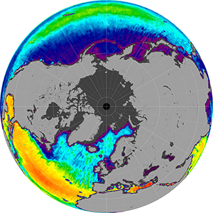 Sea surface salinity in the Northern Hemisphere, December 2014