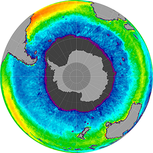 Sea surface salinity in the Southern Hemisphere, June 2014