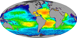 Global sea surface salinity, March 2012