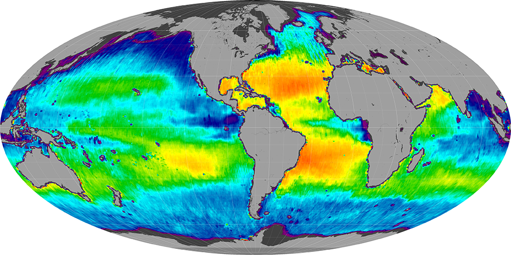 Sea surface salinity, March 2013