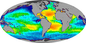 Global sea surface salinity, March 2014