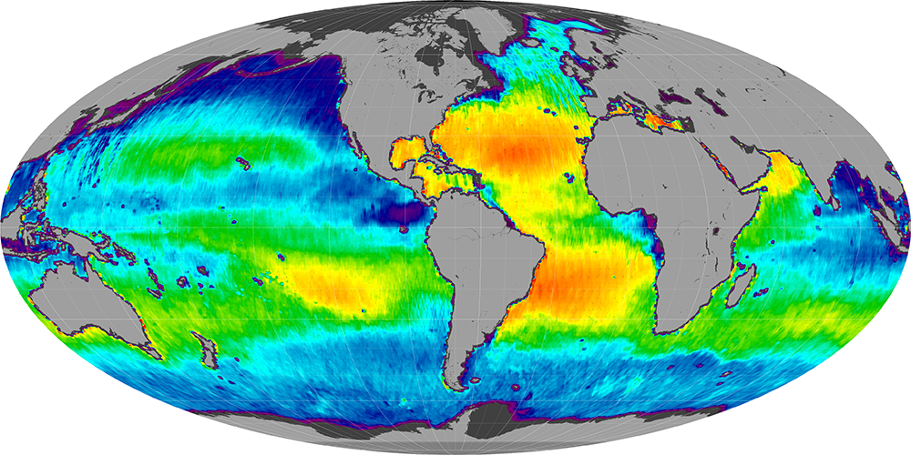 Sea surface salinity, March 2015
