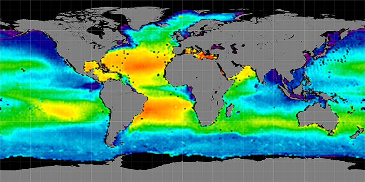 Climatology map of sea surface salinity, August Months, 2011-2014