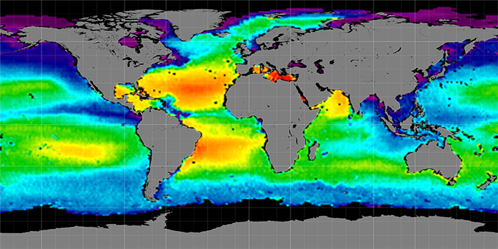 Climatology map of sea surface salinity, December Months, 2011-2014