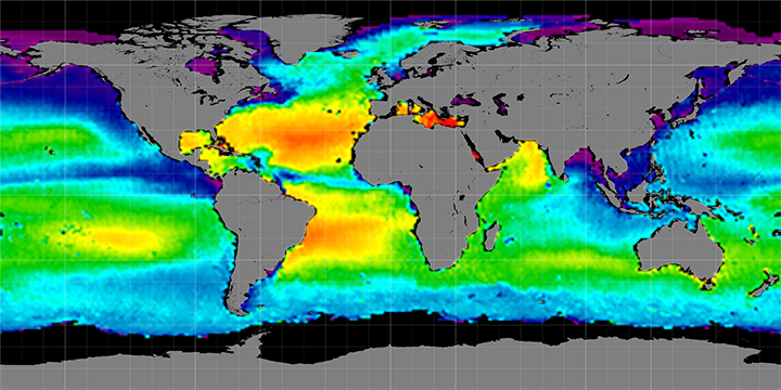 Climatology map of sea surface salinity, February Months, 2012-2015