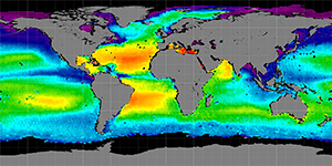 Global sea surface salinity, January 2012-2015