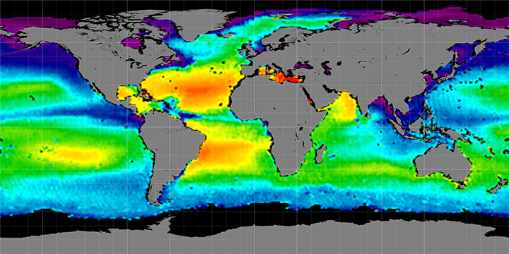 Climatology map of sea surface salinity, January Months, 2012-2015
