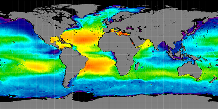Climatology map of sea surface salinity, July Months, 2012-2014