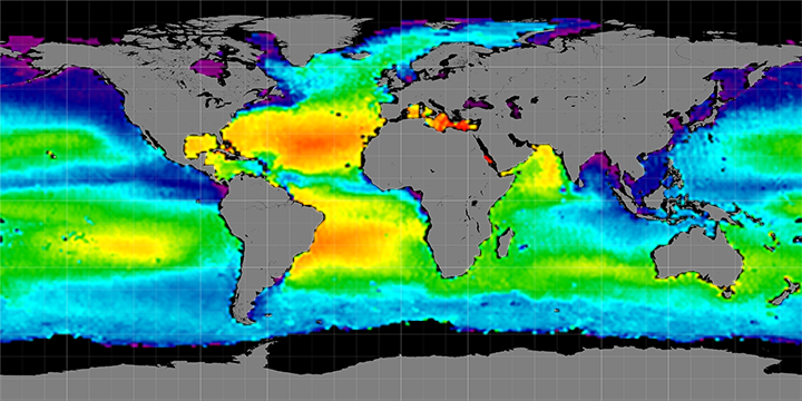 Climatology map of sea surface salinity, March Months, 2012-2015