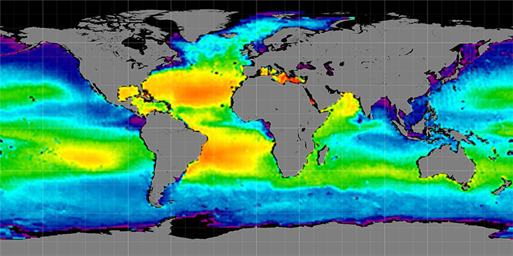 Climatology map of sea surface salinity, May Months, 2012-2015