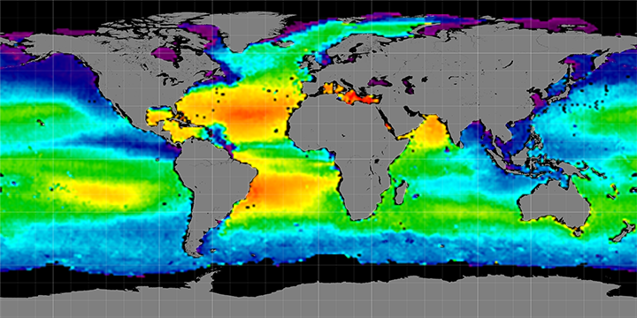 Climatology map of sea surface salinity, November Months, 2011-2014