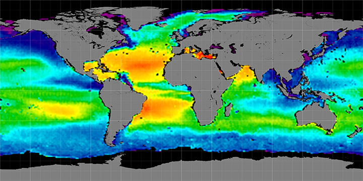 Climatology map of sea surface salinity, October Months, 2011-2014