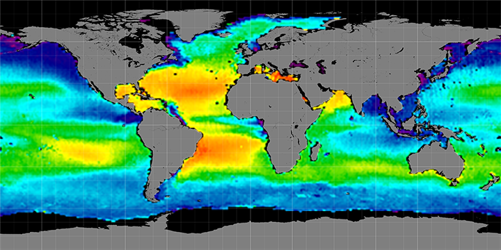 Climatology map of sea surface salinity, September Months, 2011-2014
