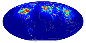 Global scatterometer percent rfi, April 2015