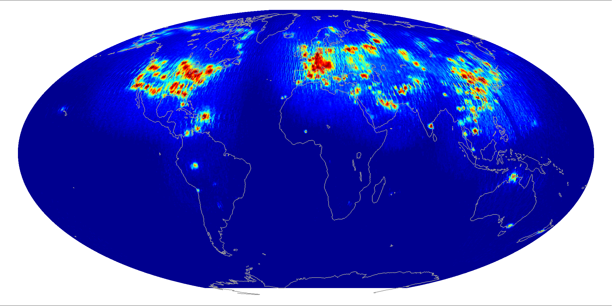 Global scatterometer percent rfi, December 2013