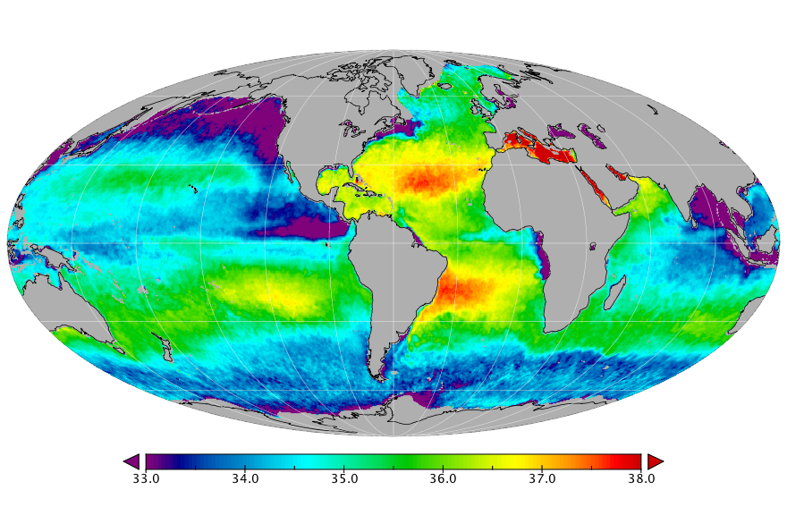 Sea surface salinity, March 2016