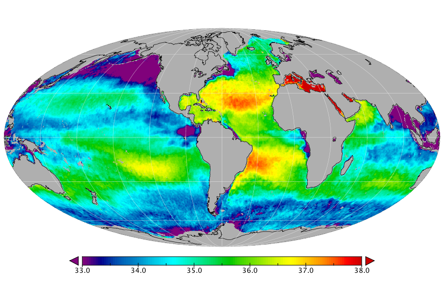 Sea surface salinity, March 2018