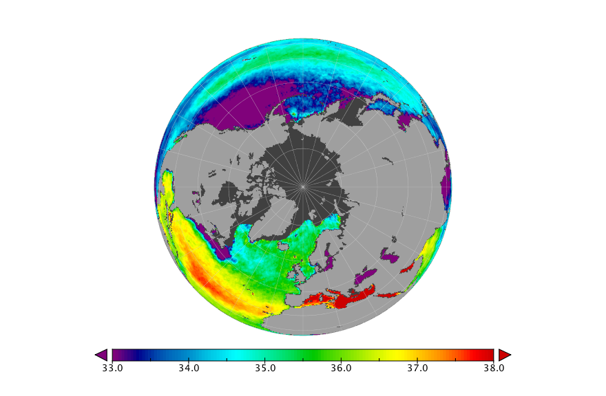Sea surface salinity, March 2019