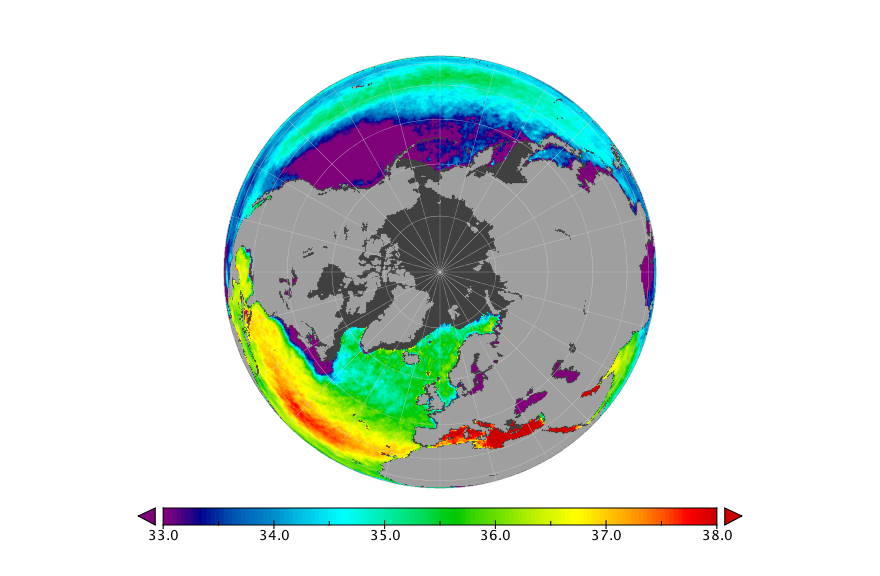 Sea surface salinity, March 2020