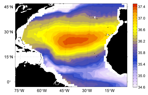 Mean sea surface salinity between Sept. 2012 and Sept. 2013