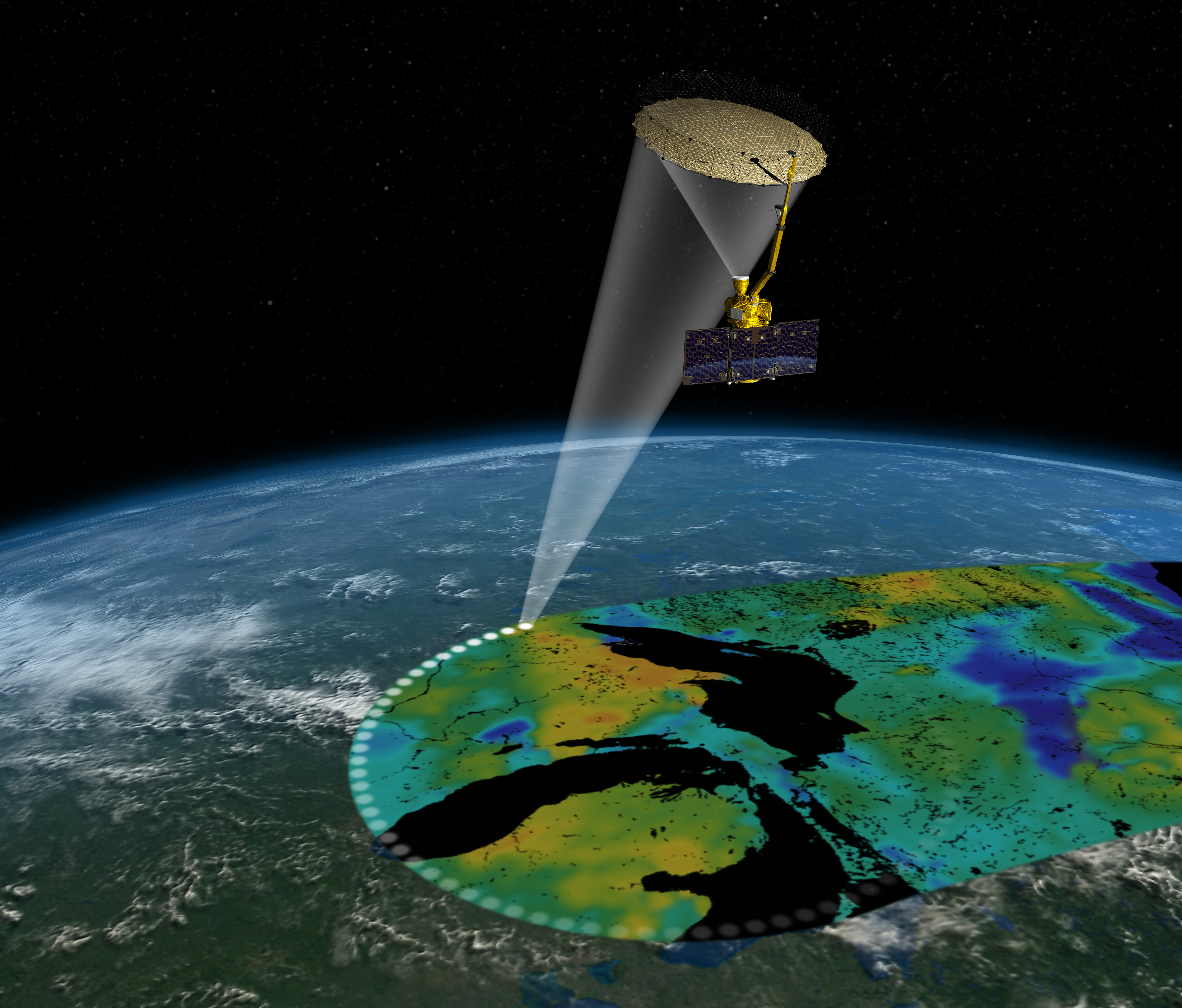 Artist's rendering of the Soil Moisture Active Passive satellite