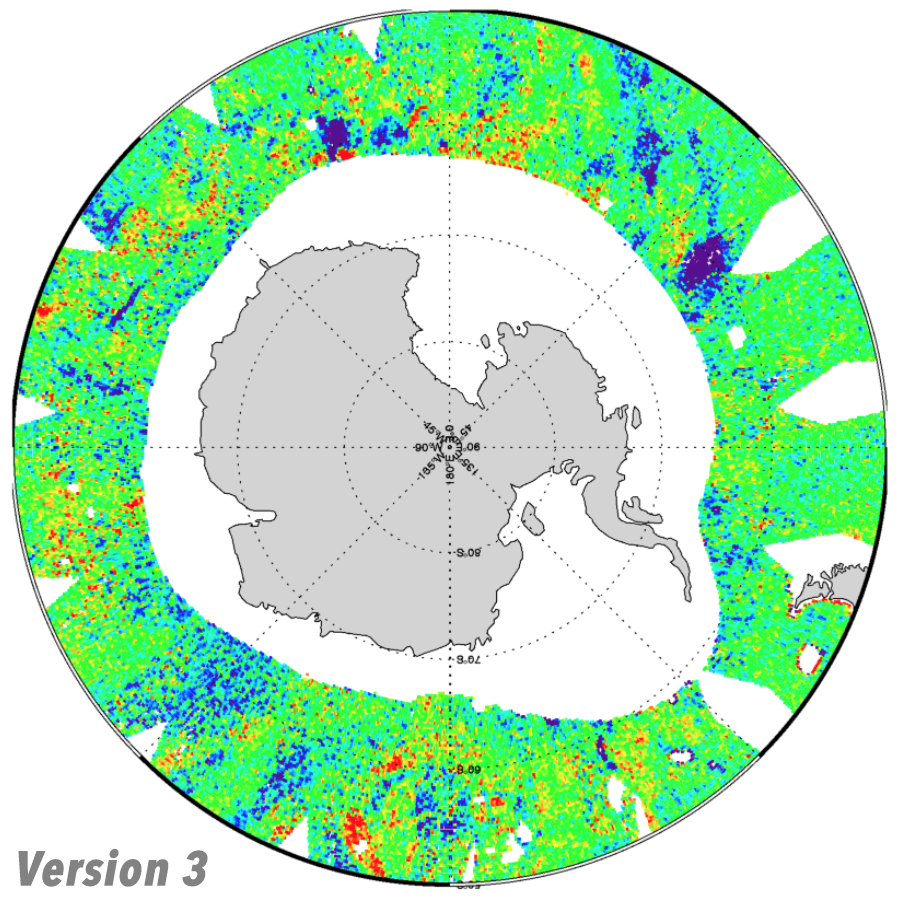 Coverage in the Antarctic for RSS SMAP salinity, V3