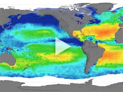 Flat map projection of Aquarius sea surface salinity